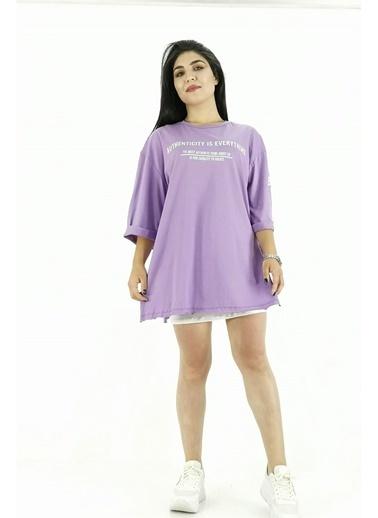 Butikburuç Fakir Kol Kadın Tshirt - Lila Lila